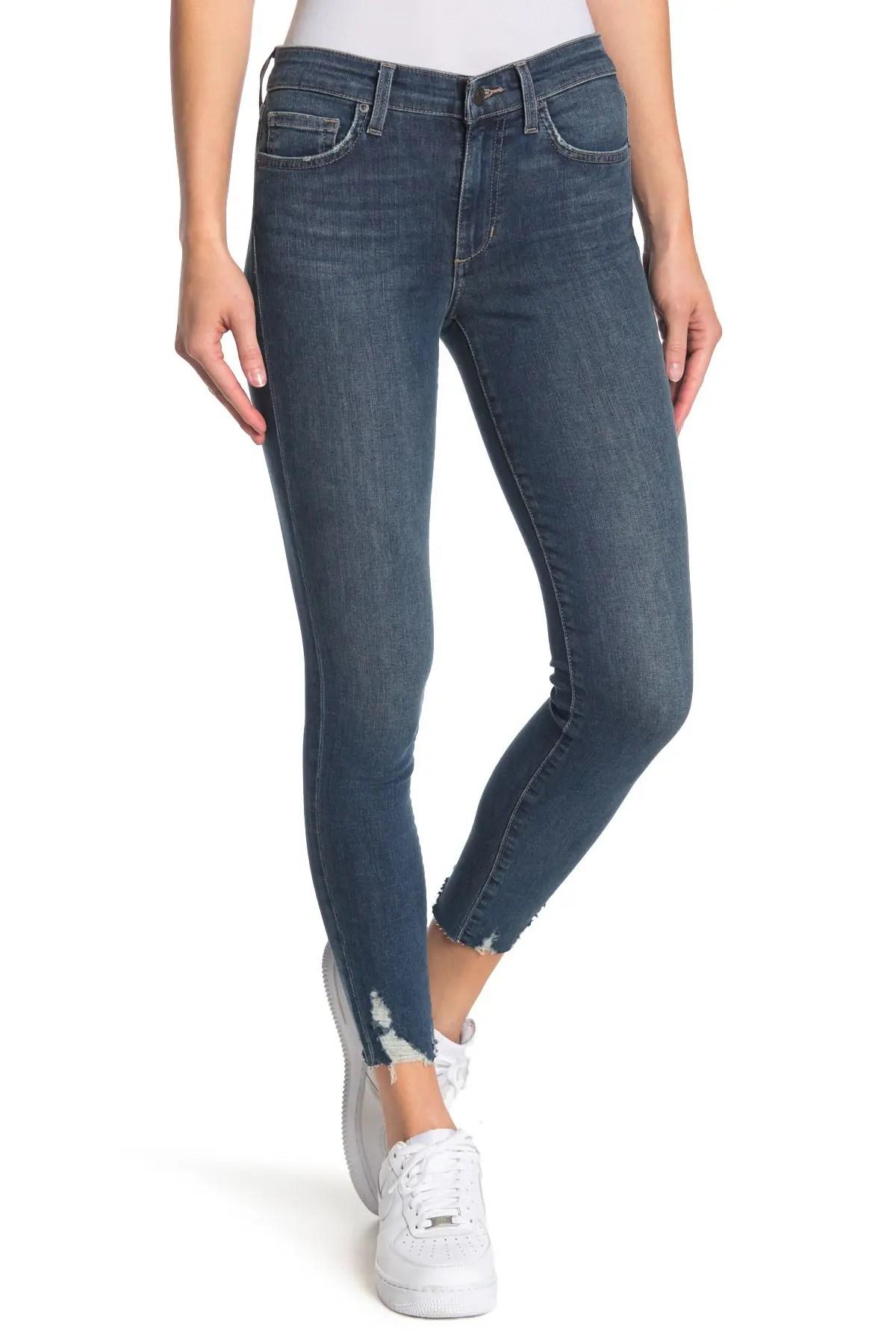 joe s jeans mid rise distressed hem skinny jeans nordstrom rack