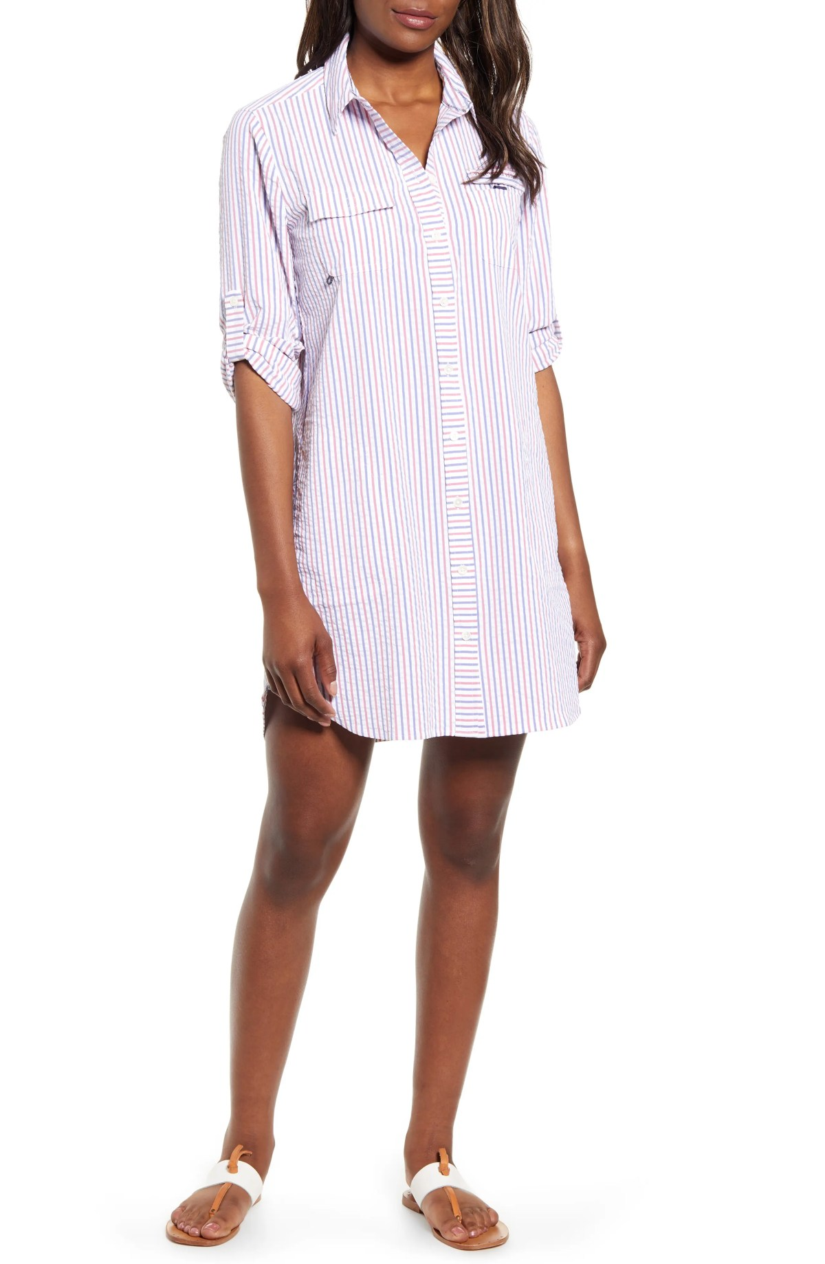 Seersucker Harbor Cover-Up Shirtdress, Main, color, LIGHTHOUSE RED