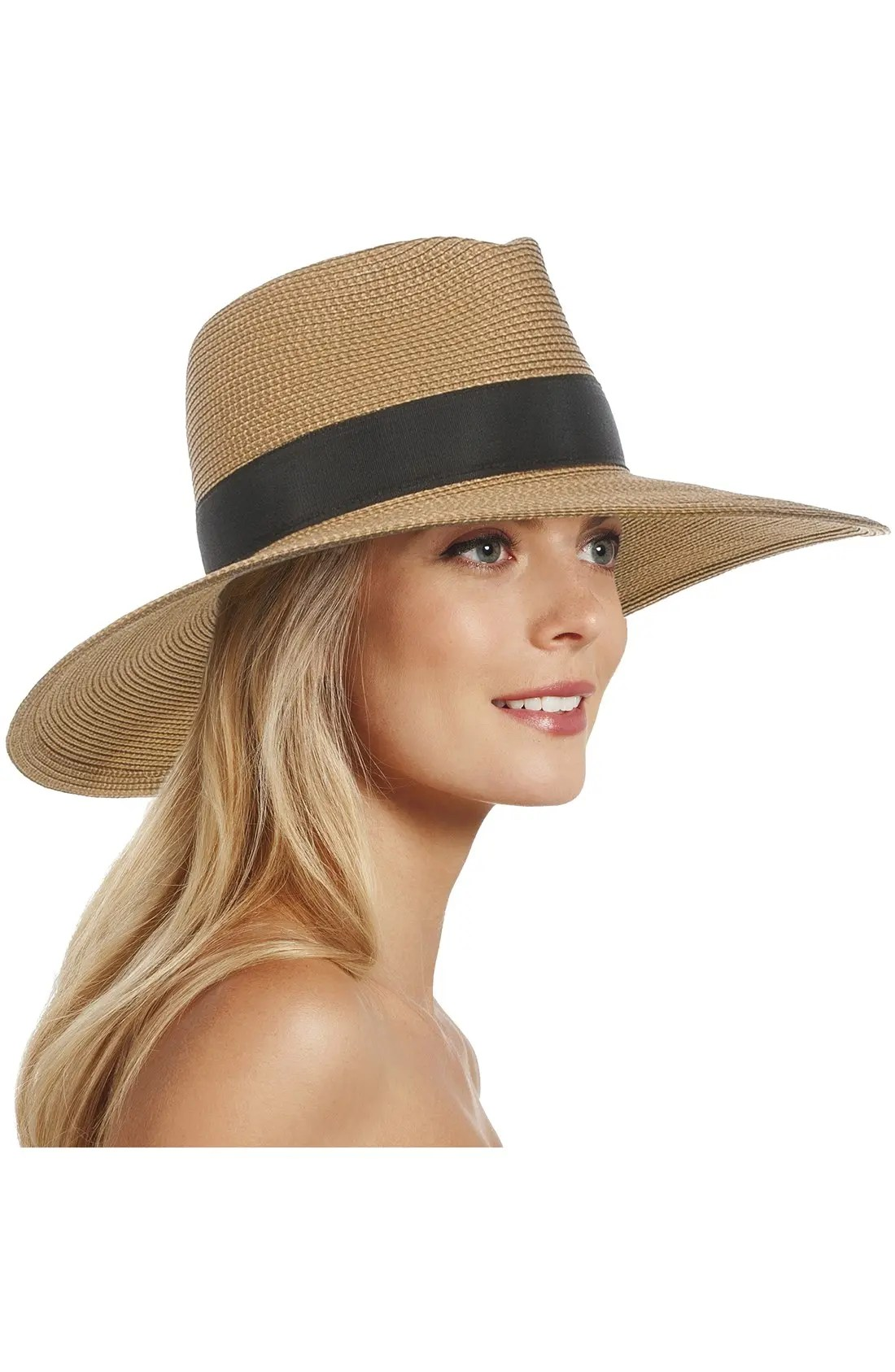 'Daphne' Broad Brim Fedora, Alternate, color, NATURAL/ BLACK
