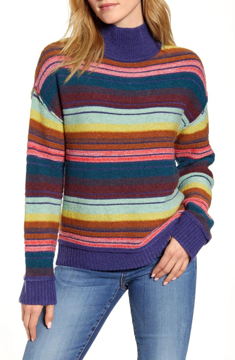 Mock Neck Stripe Sweater, Main, color, BLUE JONI STRIPE
