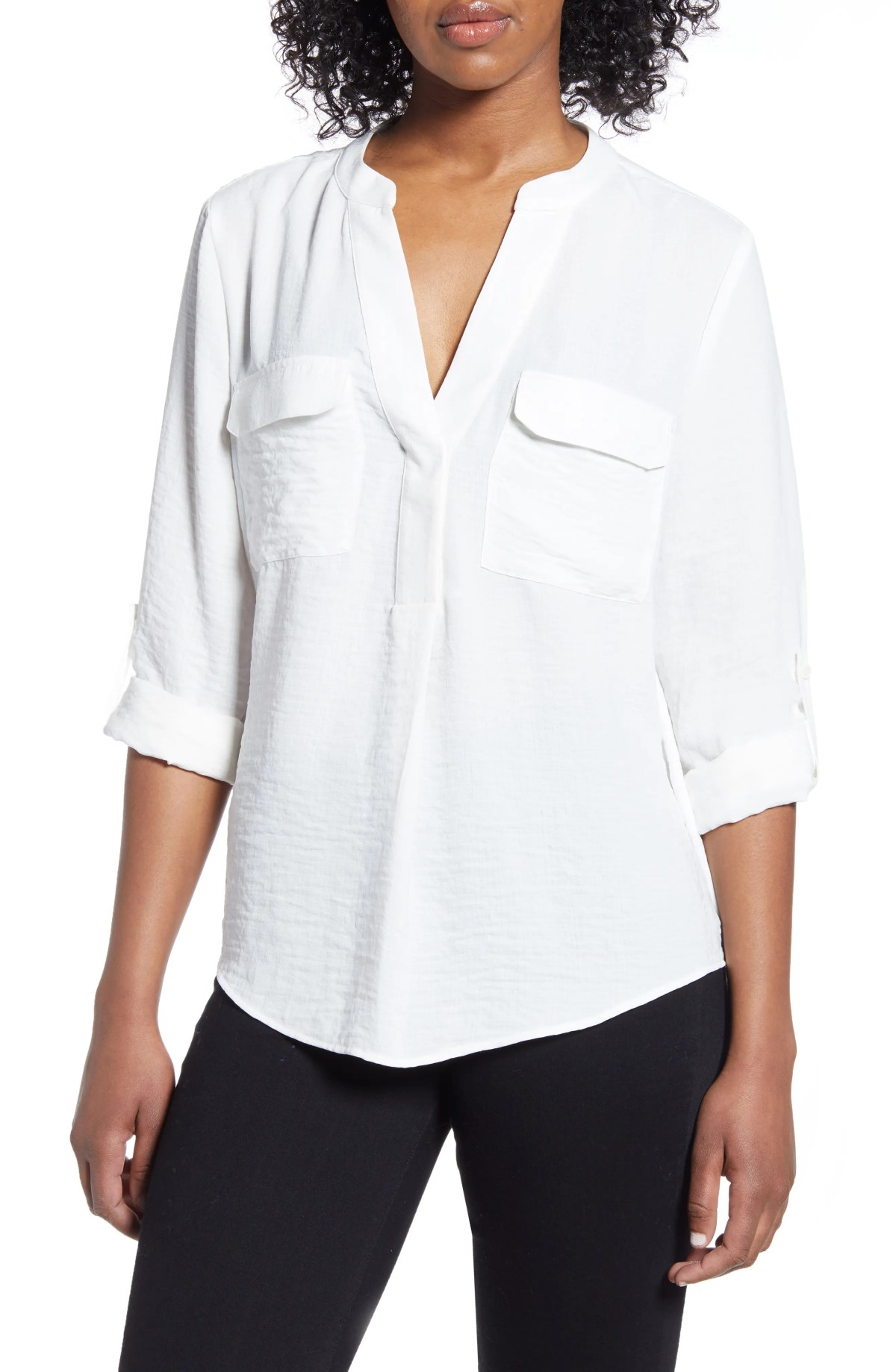 VINCE CAMUTO Matte Rumple Blouse, Main, color, PEARL IVORY