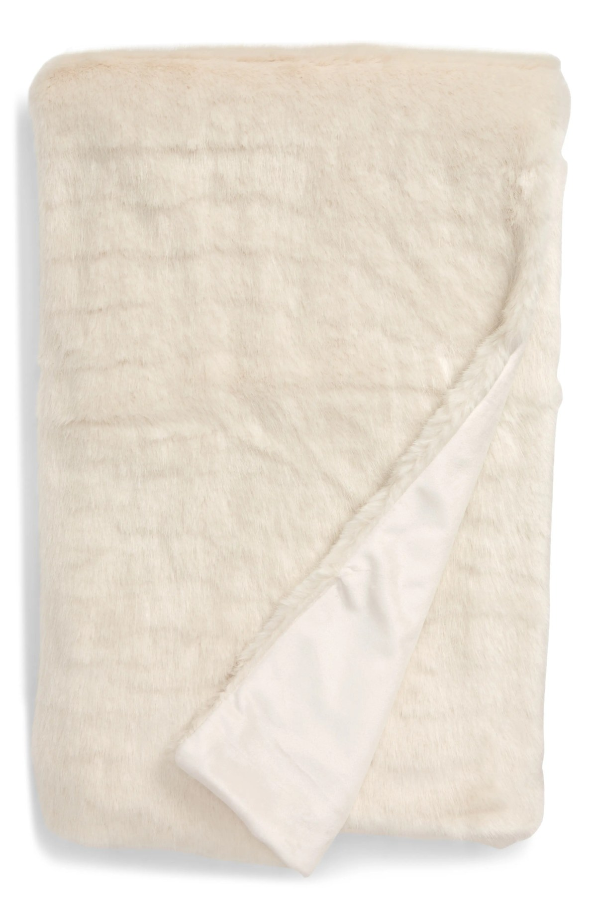 TREASURE & BOND Whisp Faux Fur Throw, Main, color, IVORY