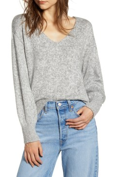 Everyday V-Neck Sweater, Main, color, GREY MEDIUM HEATHER MARL