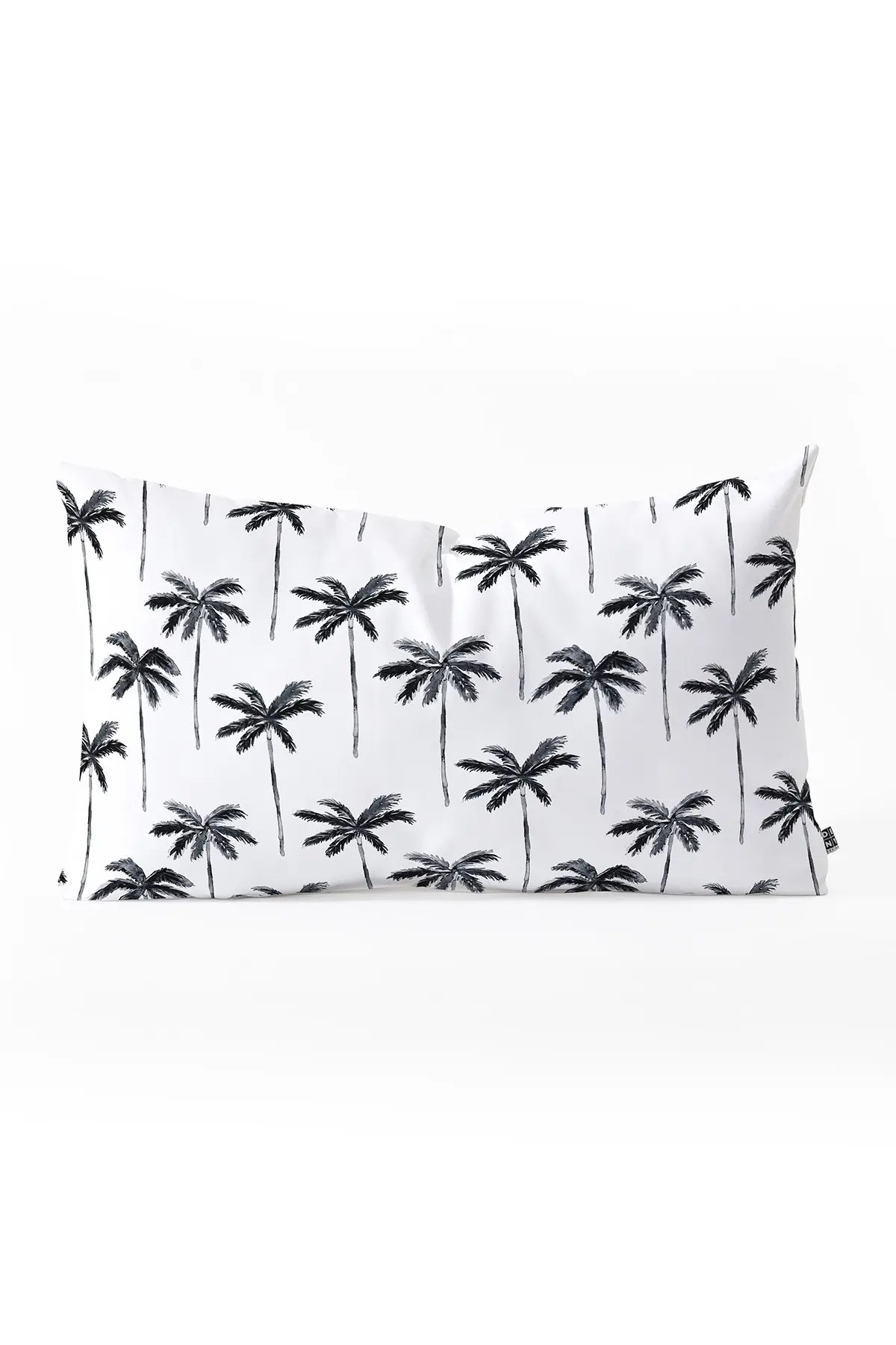 deny designs little arrow design co watercolor palm tree in black oblong throw pillow nordstrom rack
