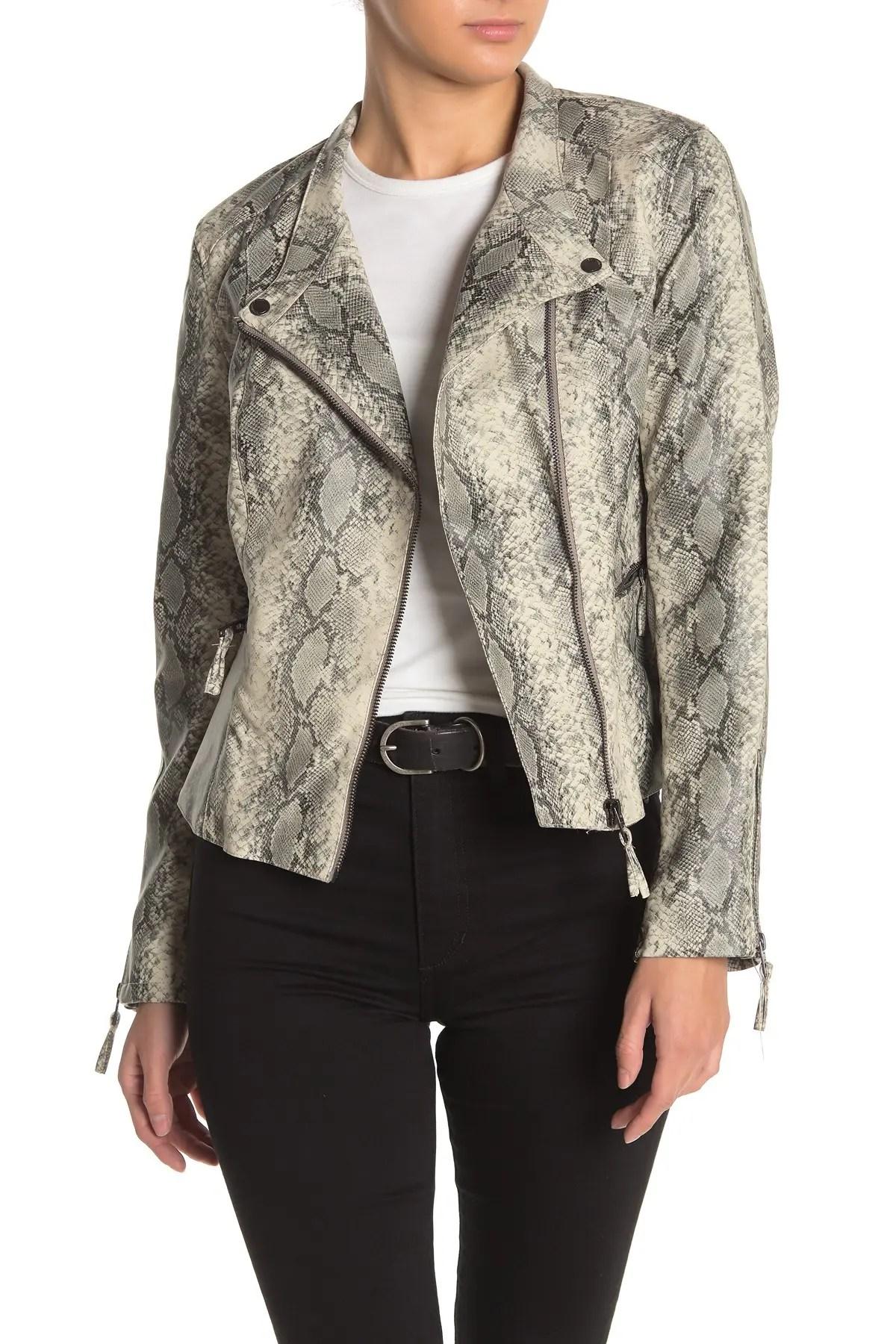 blanknyc denim snakeskin print faux leather moto jacket nordstrom rack