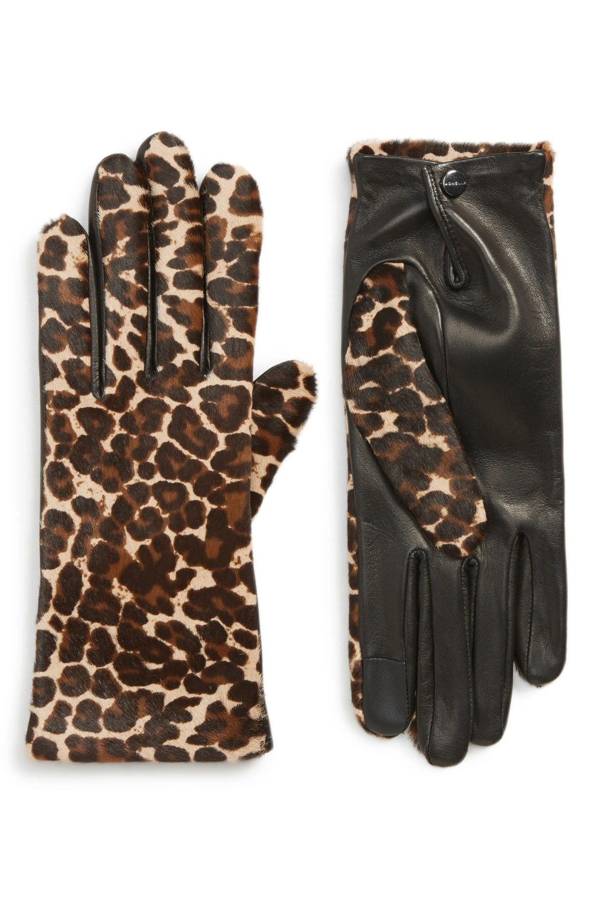 AGNELLE Leopard Print Genuine Calf Hair & Lambskin Leather Gloves, Main, color, BLACK TACTILE/ PANTHERE