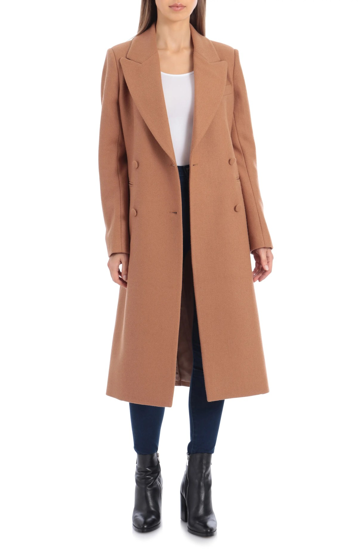 AVEC LES FILLES Double Breasted Wool Blend Coat, Main, color, CAMEL