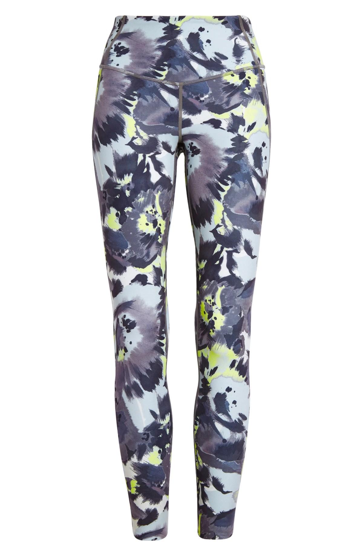 ZELLA Studio Lite High Waist Pocket 7/8 Leggings, Main, color, GREY SHADE TIE DYE BLOOMS
