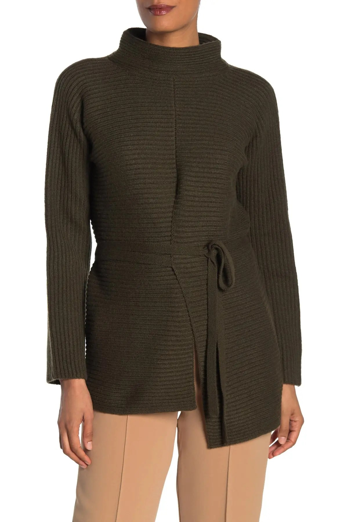 vince asymmetrical tie front knit wool cashmere sweater nordstrom rack