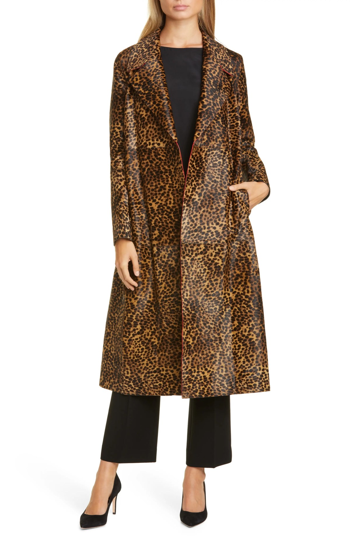 LAFAYETTE 148 NEW YORK Zelida Leopard Print Calf Hair Trench Coat, Main, color, TEAK MULTI