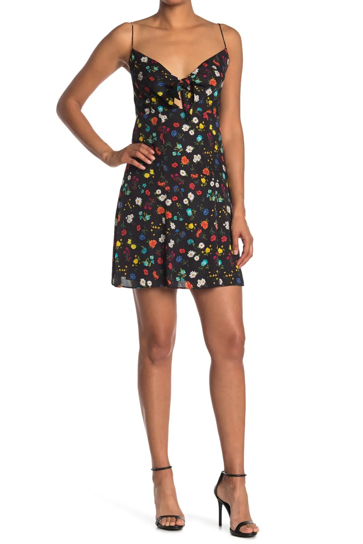 alice olivia roe tie front floral print flare dress nordstrom rack