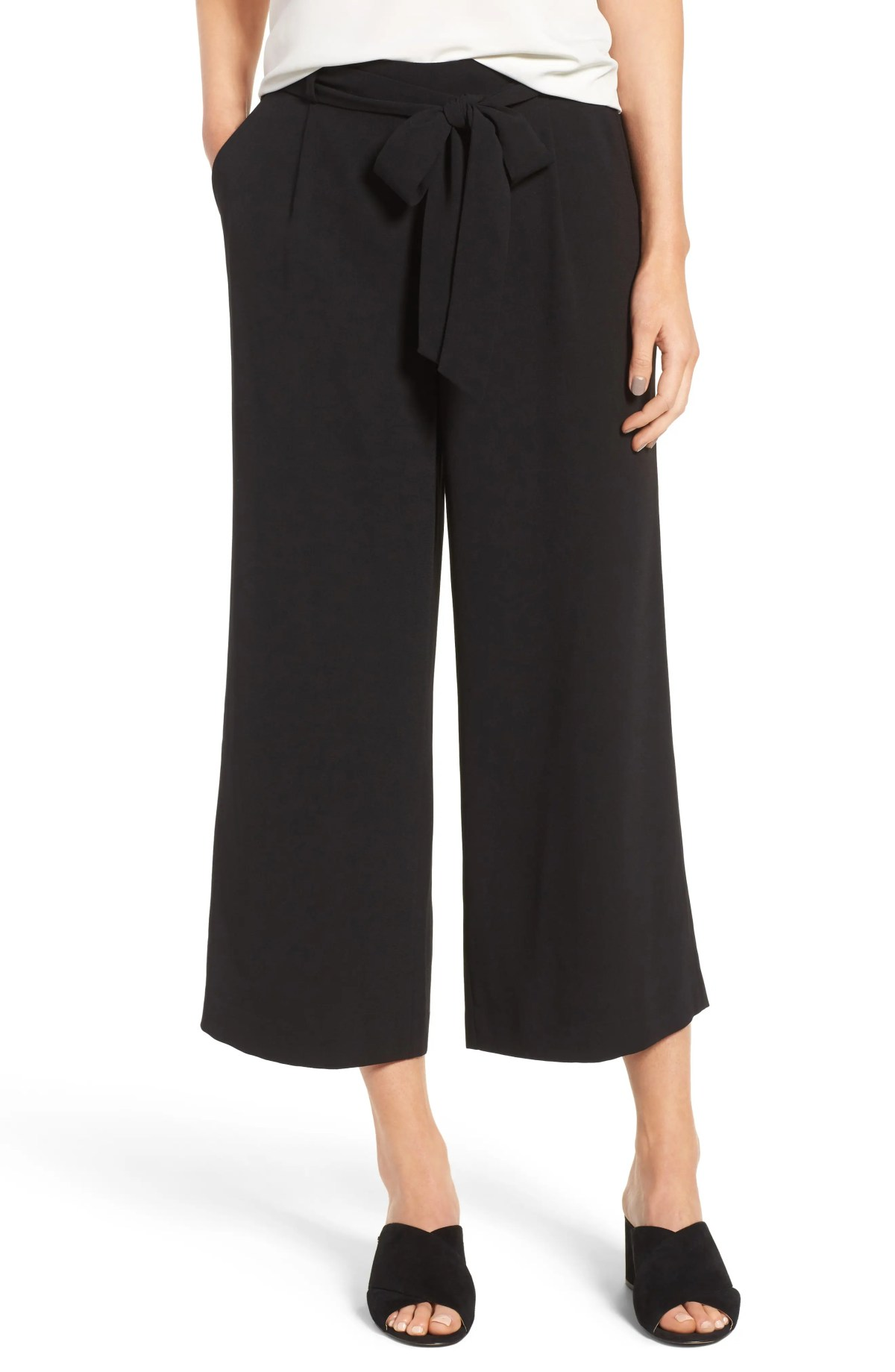 HALOGEN<SUP>®</SUP> Wide Leg Crop Pants, Main, color, BLACK