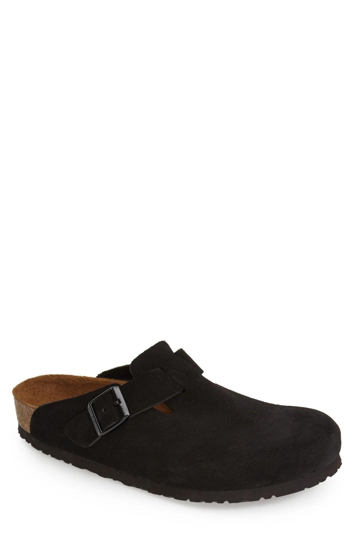 BIRKENSTOCK 'Boston Soft' Suede Clog, Main, color, BLACK