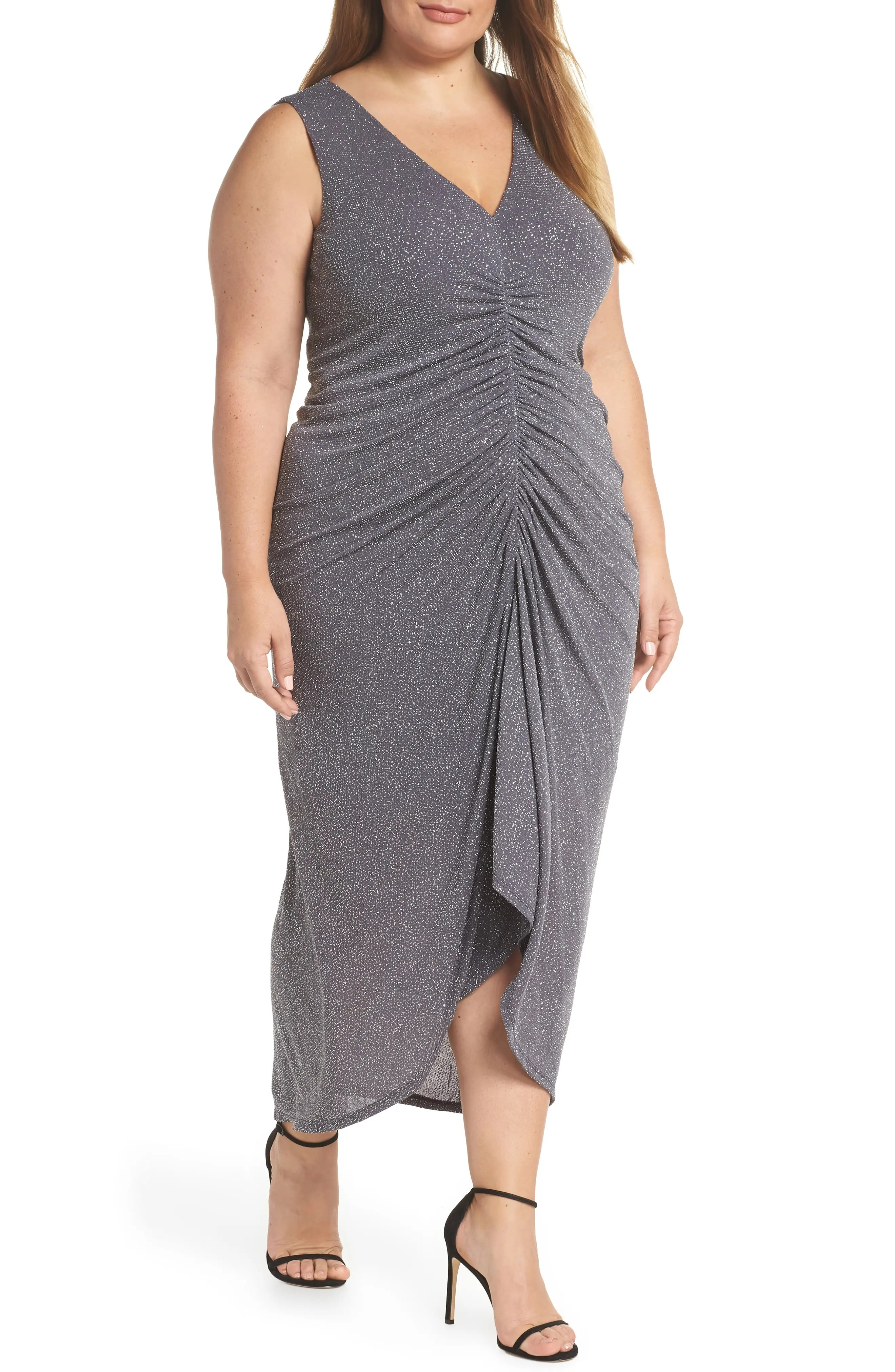 vince camuto sleeveless ruched front metallic evening dress nordstrom rack