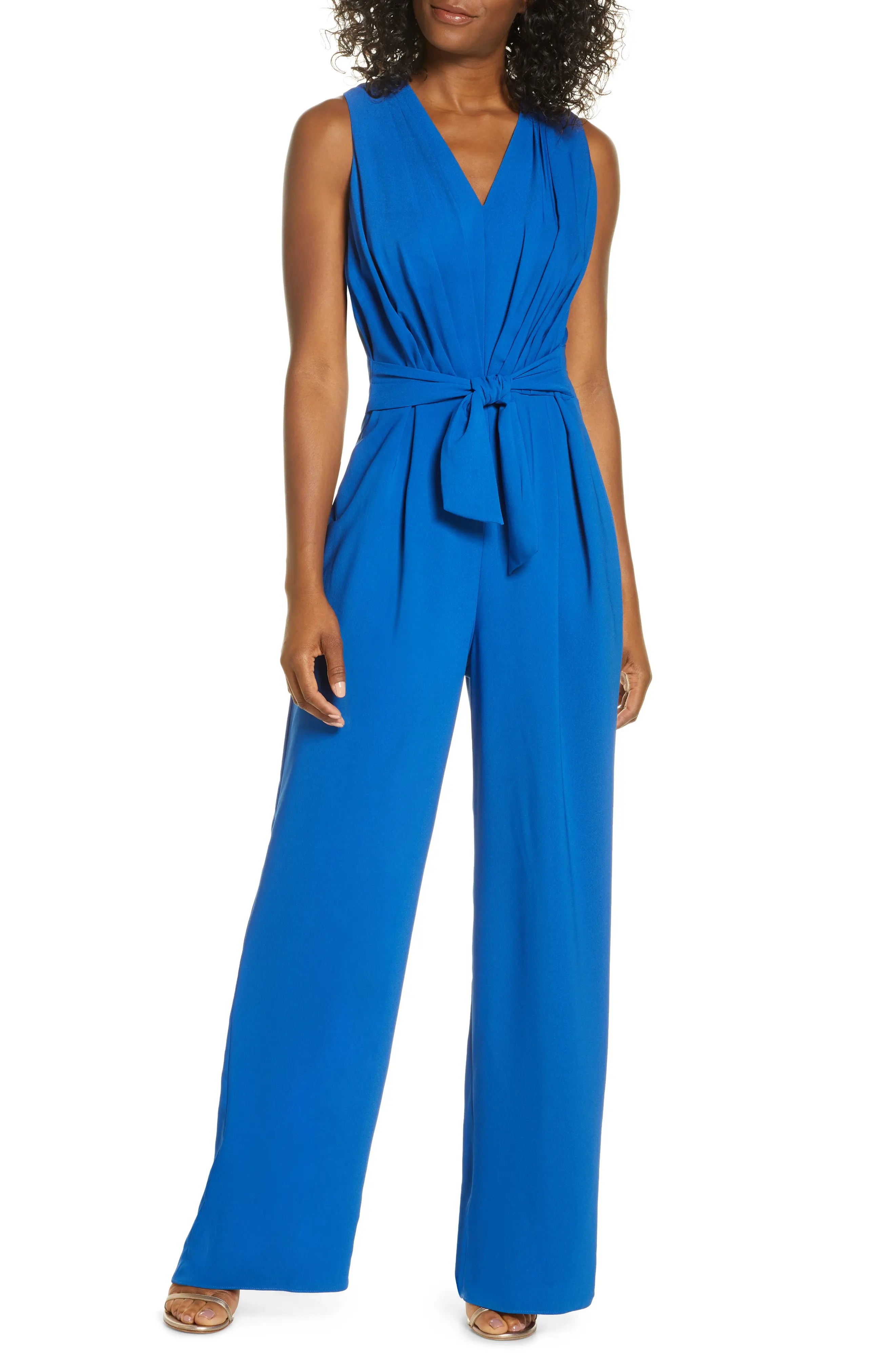 gal meets glam collection sleeveless tie waist jumpsuit nordstrom rack
