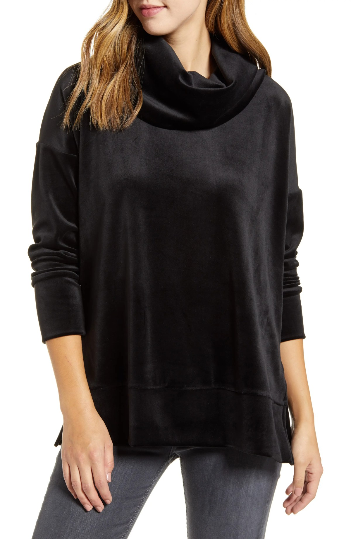 LOVEAPPELLA Velvet Cowl Neck Tunic Top, Main, color, BLACK