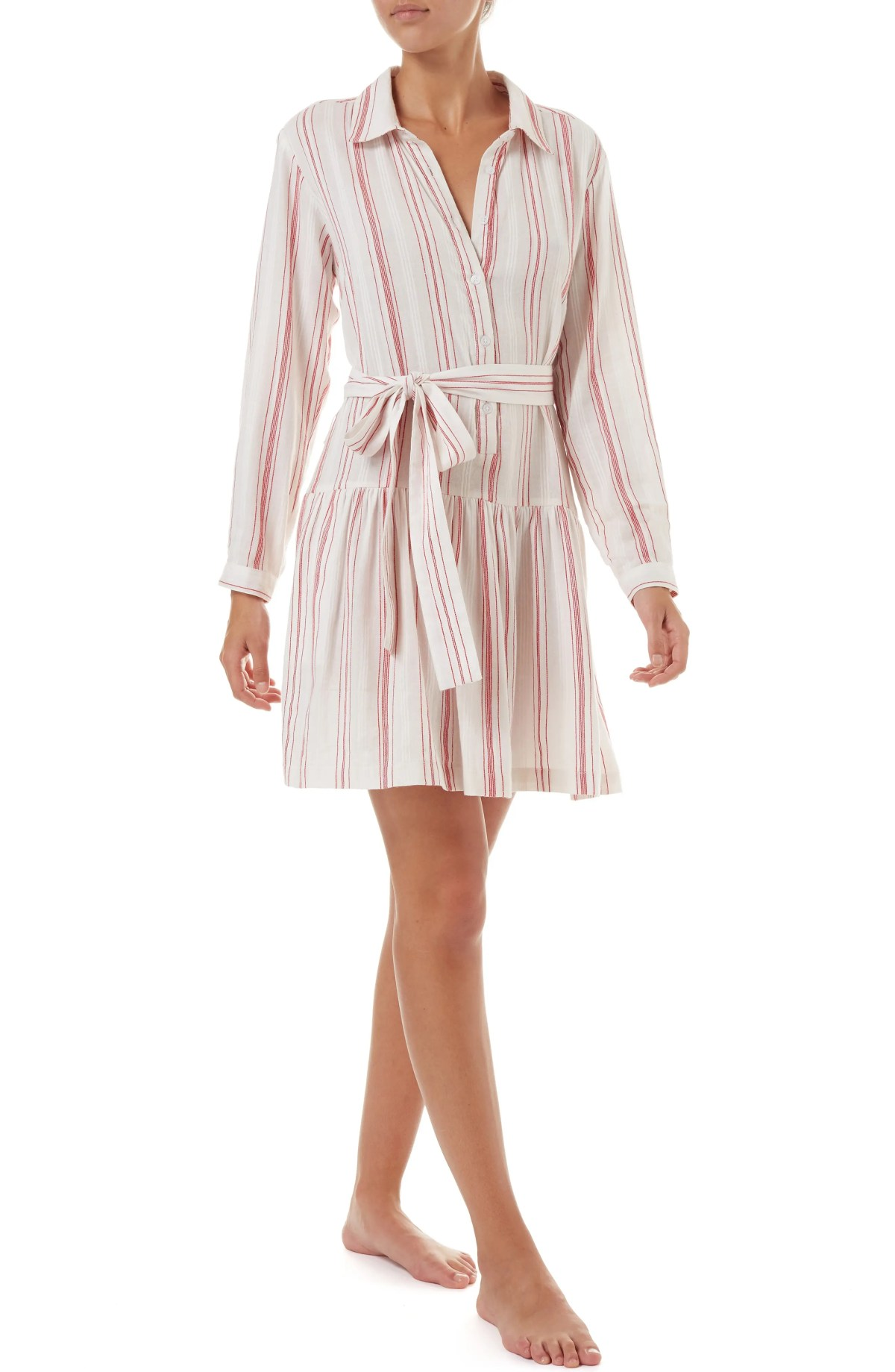 Amelia Cover-Up Shirtdress, Main, color, RED STRIPE