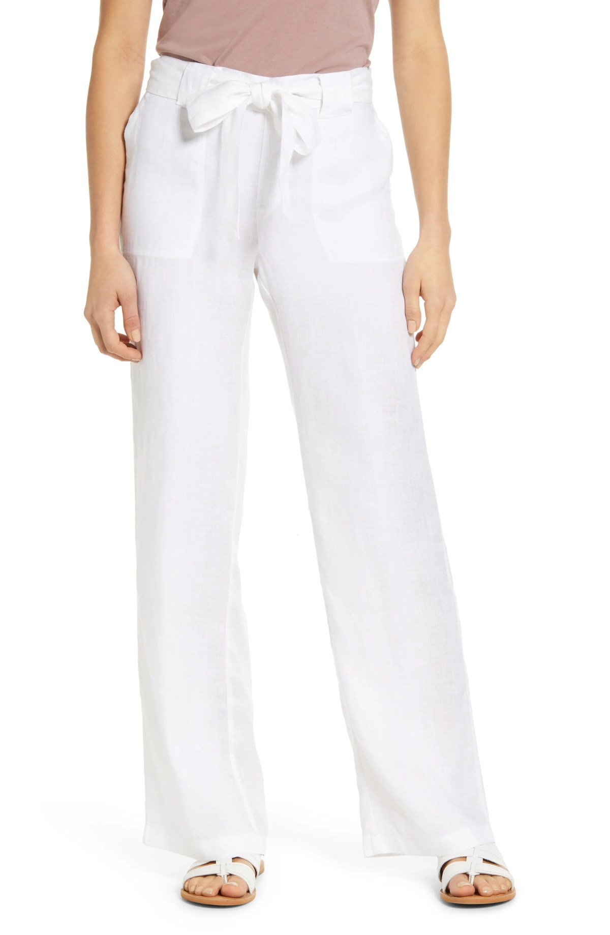 CASLON<SUP>®</SUP> New Belted Linen Pants, Main, color, WHITE