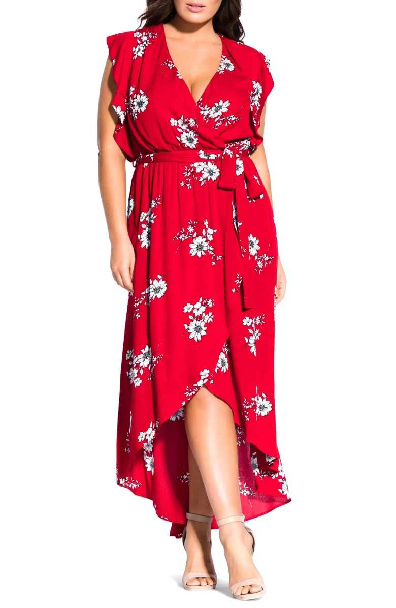 City Chic Floral Print Wrap Maxi Dress Plus Size Nordstrom