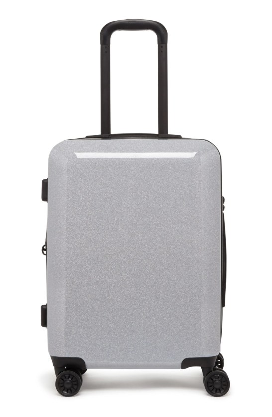 medora glitter 20 inch hard side spinner carry on suitcase