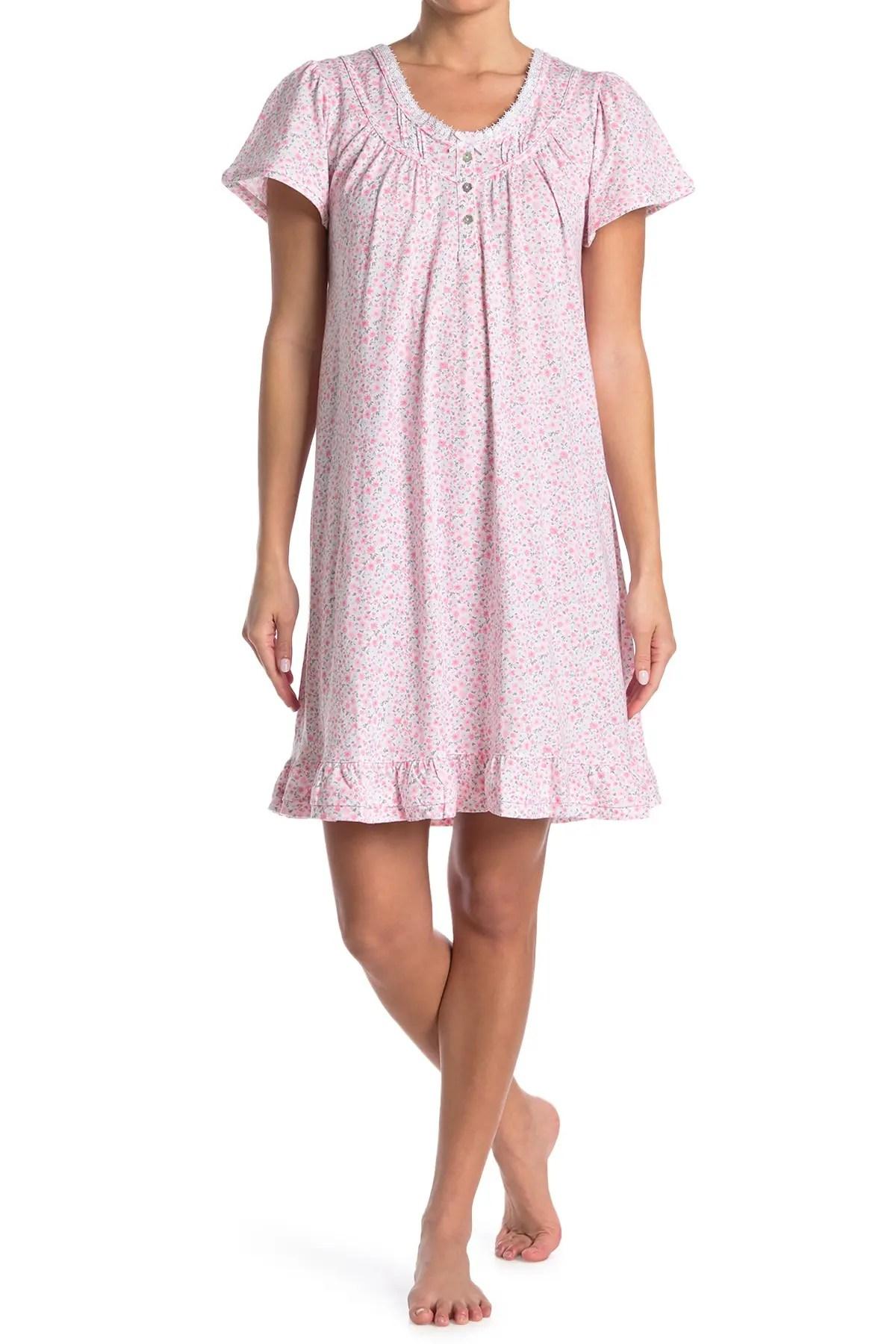 aria printed short sleeve short nightgown nordstrom rack