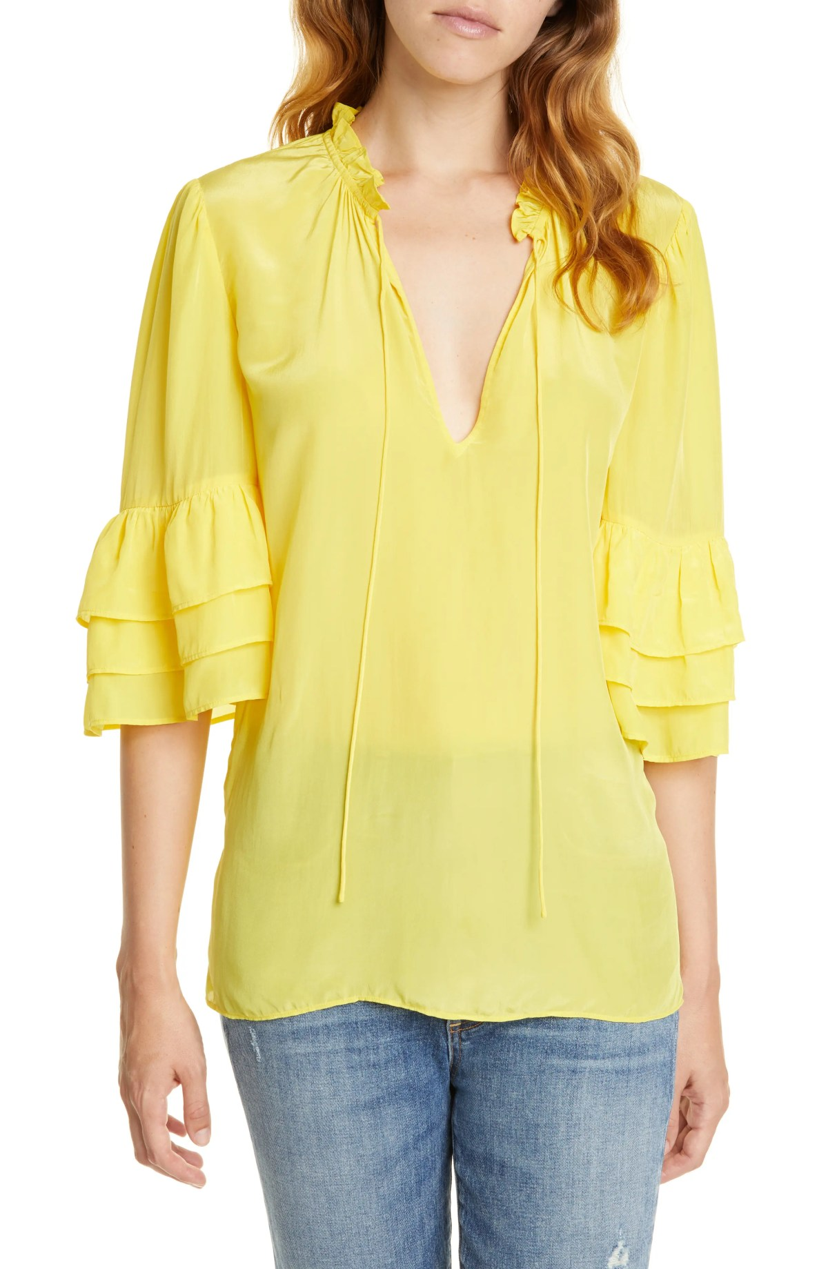 ALICE + OLIVIA Julius Tier Sleeve Tunic, Main, color, CITRUS