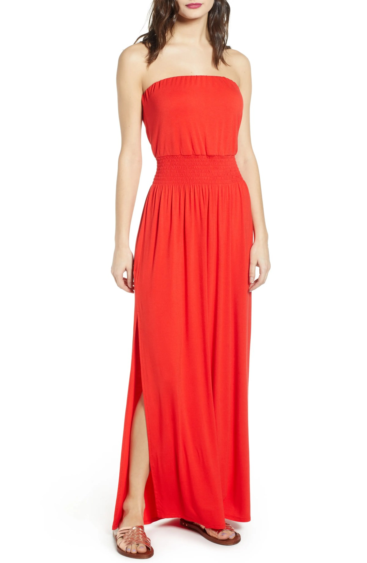 Strapless Maxi Dress, Main, color, RED FIERY