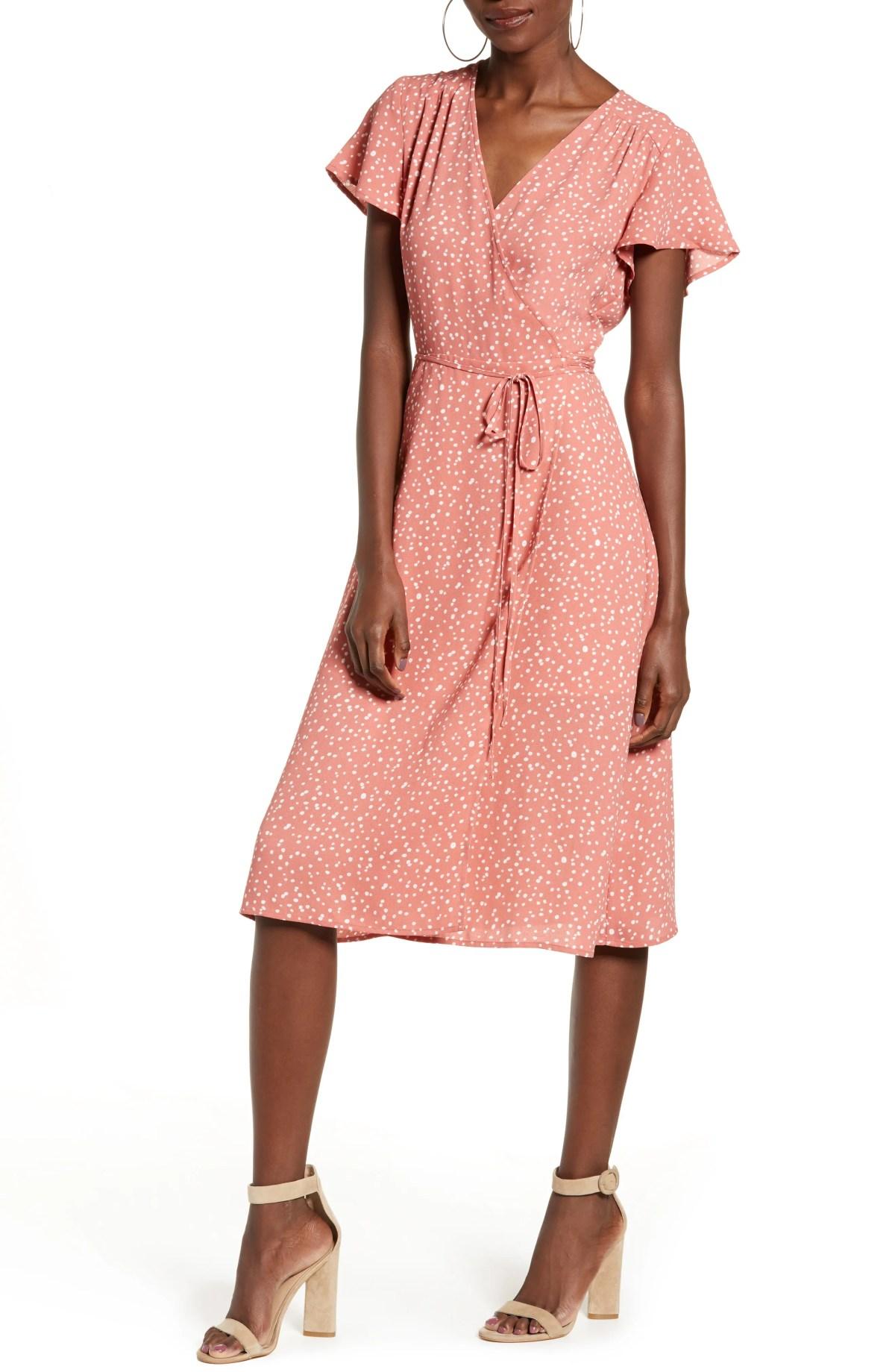 Wrap Dress, Main, color, PINK CANYON BUTTON DOT SM