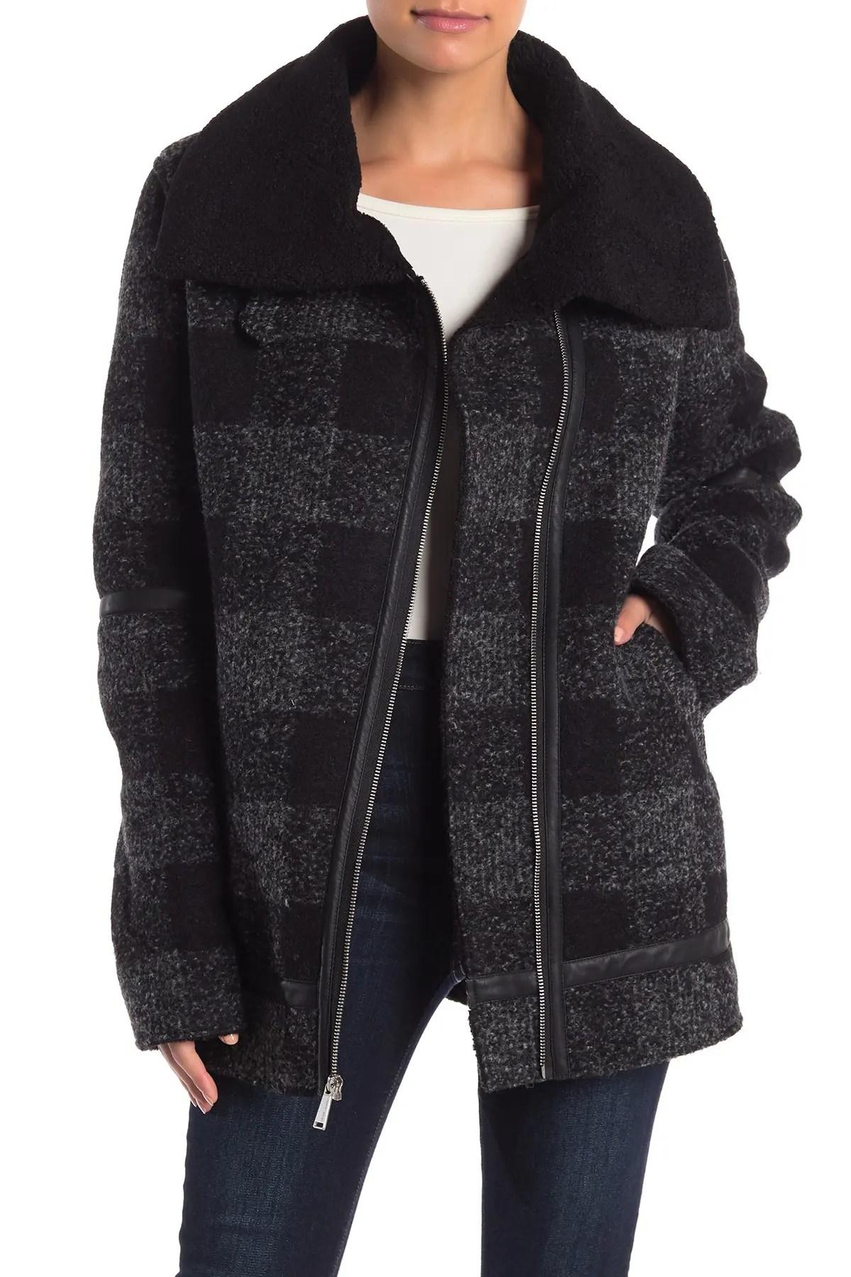 bcbg plaid print faux leather trim asymmetrical zip coat nordstrom rack