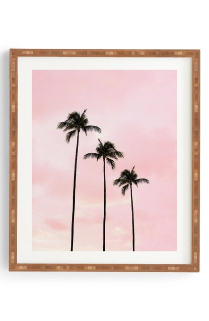 14 Back to School Essentials for Social Distance Learning | Deny Designs Palm Trees & Sunset Framed Wall Art, $28.90