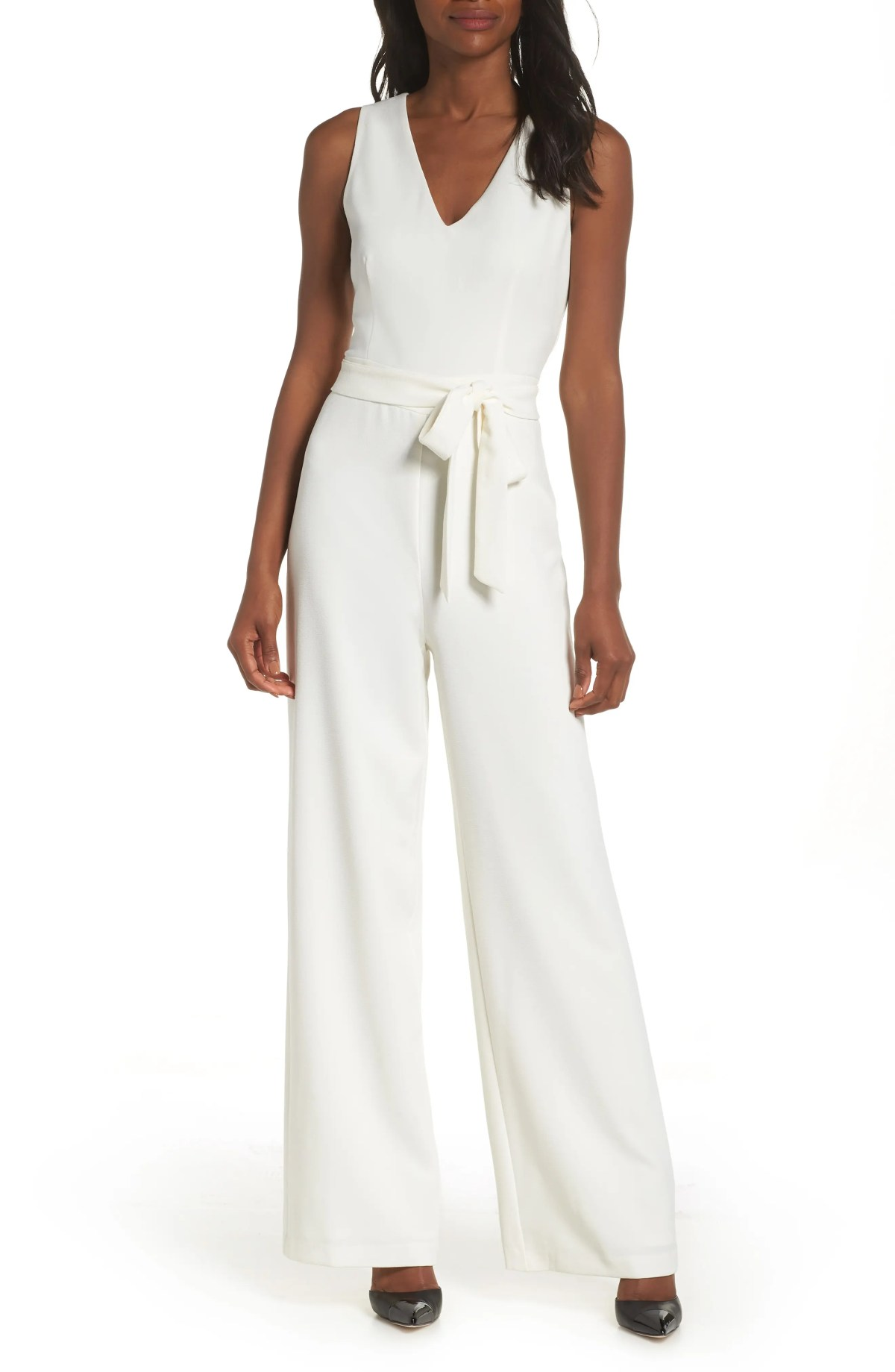Tie Front Wide Leg Jumpsuit, Main, color, IVORY