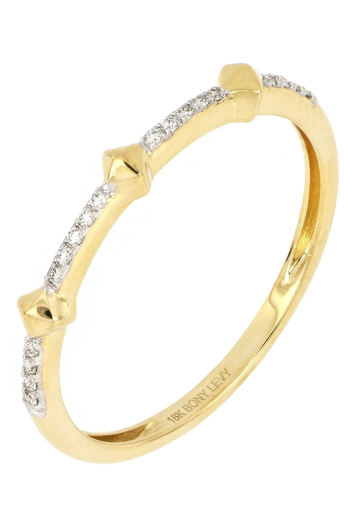 bony levy 18k yellow gold cleo pave diamond stack ring 0 05 ctw nordstrom rack
