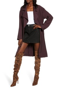 Soft Trench Coat, Main, color, BURGUNDY FUDGE