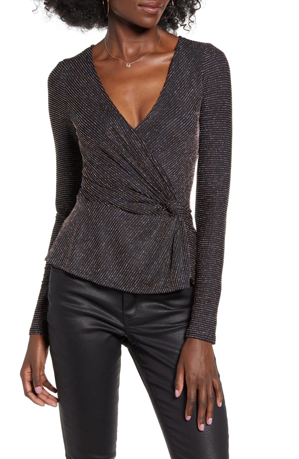ROW A Metallic Long Sleeve Top, Main, color, GOLD GLITTER