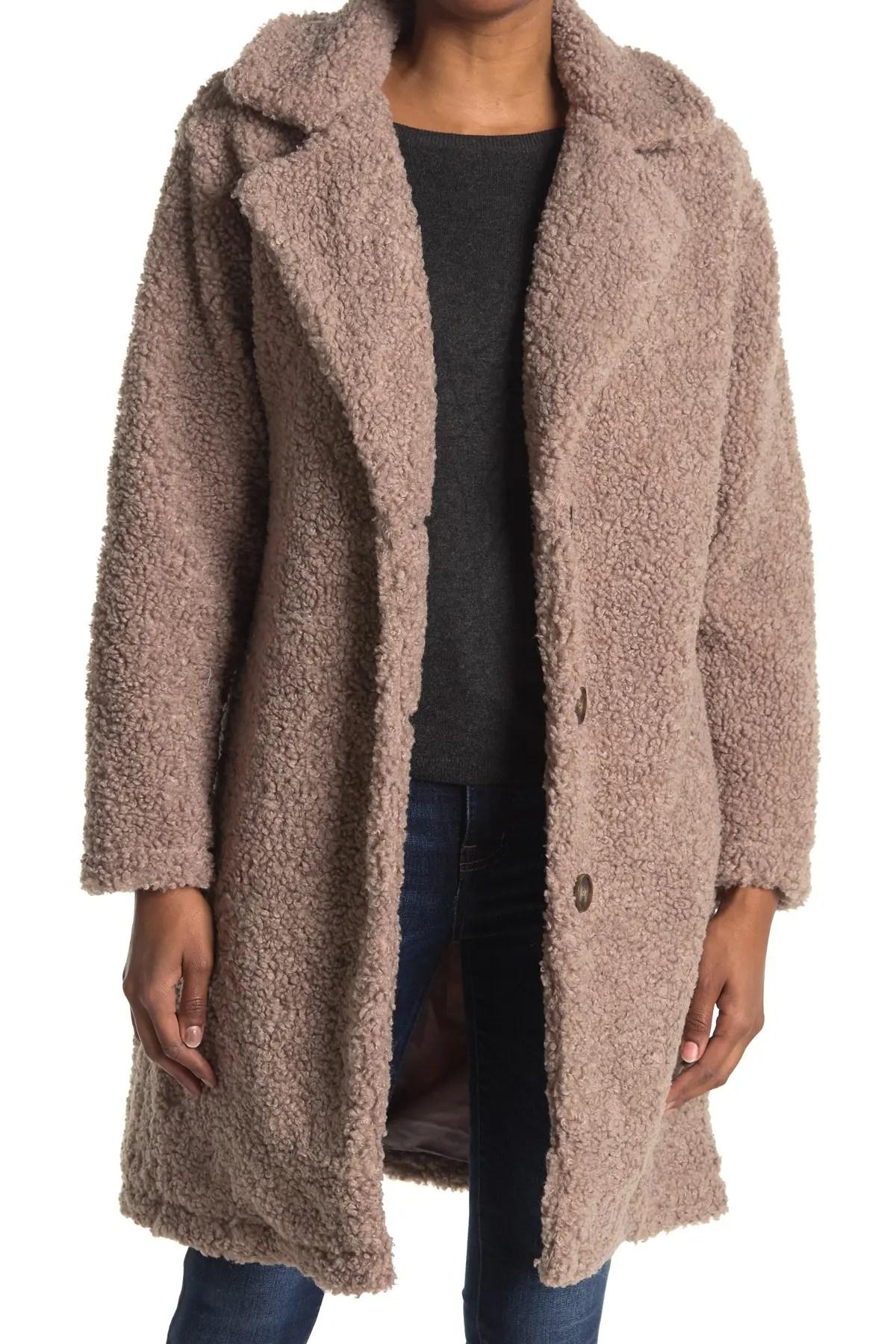 long button down teddy coat
