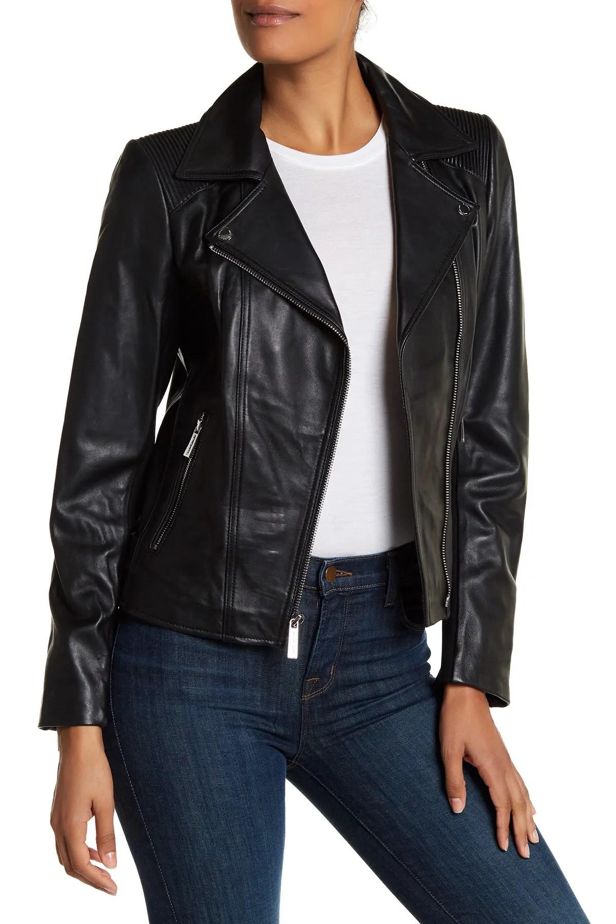 michael michael kors asymmetric zip moto leather jacket nordstrom rack