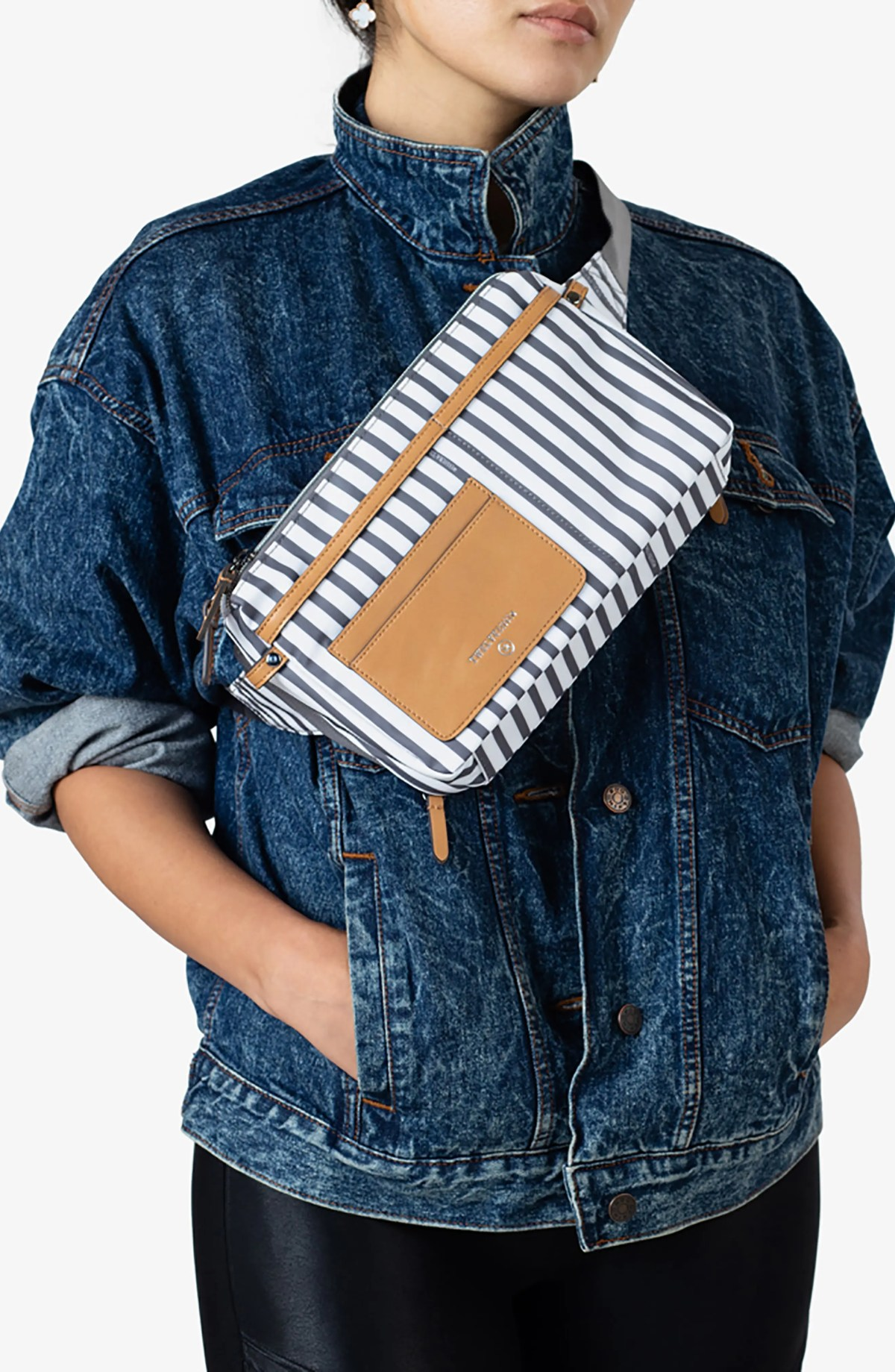 TWELVELITTLE By My Side Water Resistant Nylon Belt Bag, Alternate, color, STRIPE