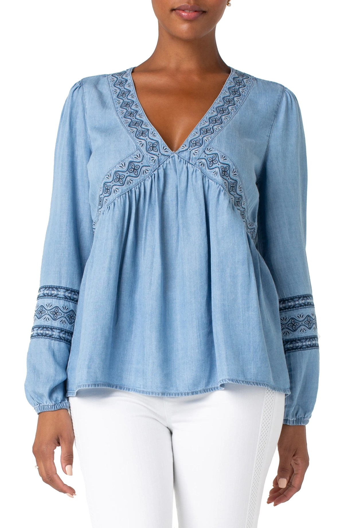 Embroidered Neck Peasant Top, Main, color, SKYFALL MED