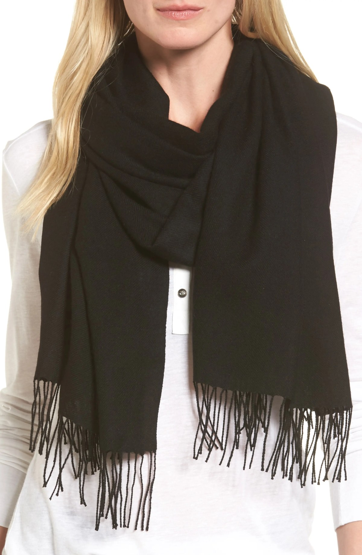 NORDSTROM Tissue Weight Wool & Cashmere Scarf, Main, color, BLACK