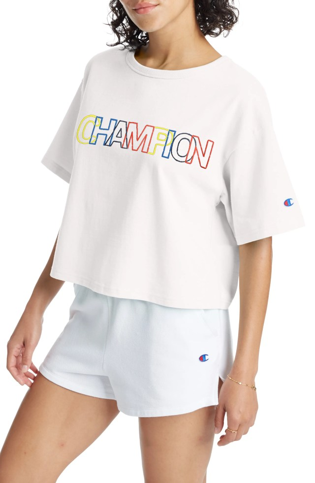 CHAMPION Heritage Logo Embroidered Crop T-Shirt, Main, color, WHITE