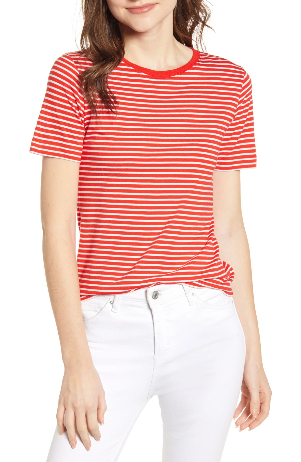 Stripe Shrunken Tee, Main, color, NATURAL/ TOMATO