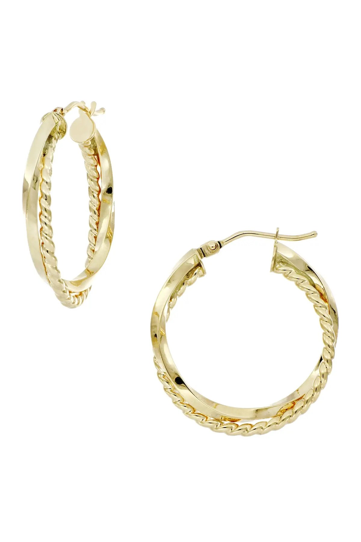bony levy 14k yellow gold 20mm twisted crossover hoop earrings nordstrom rack