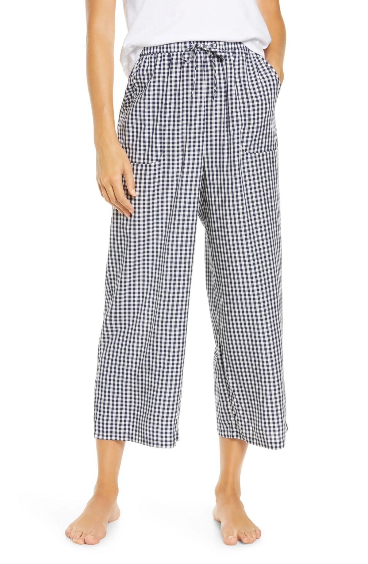 BP. Katie Crop Pajama Pants, Main, color, NAVY PEACOAT AMY PLAID