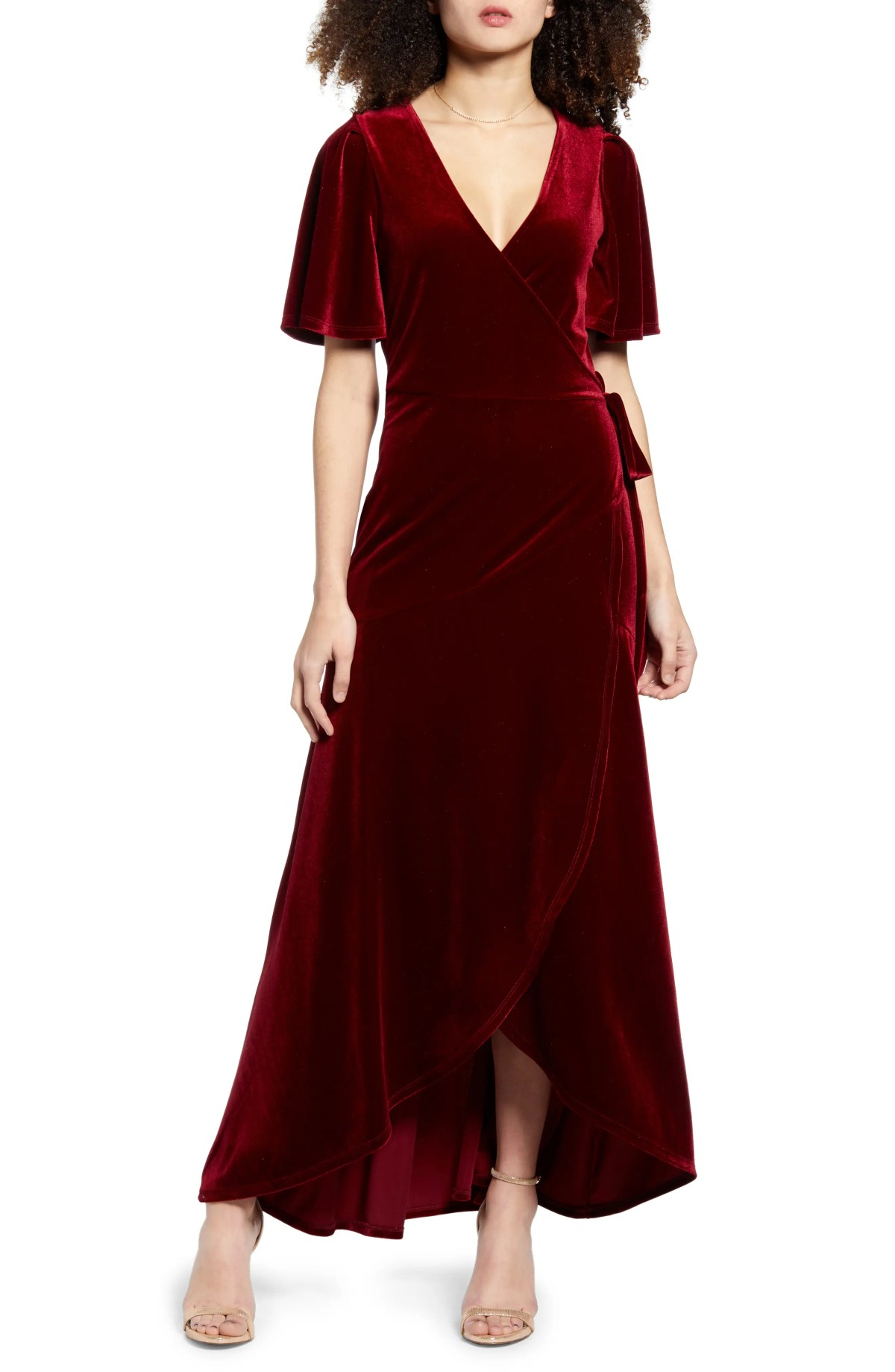 LEITH Velour Maxi Wrap Dress, Main, color, RED CHILI