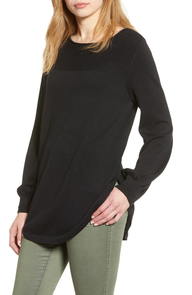 Bishop Sleeve Sweater, Main, color, BLACK