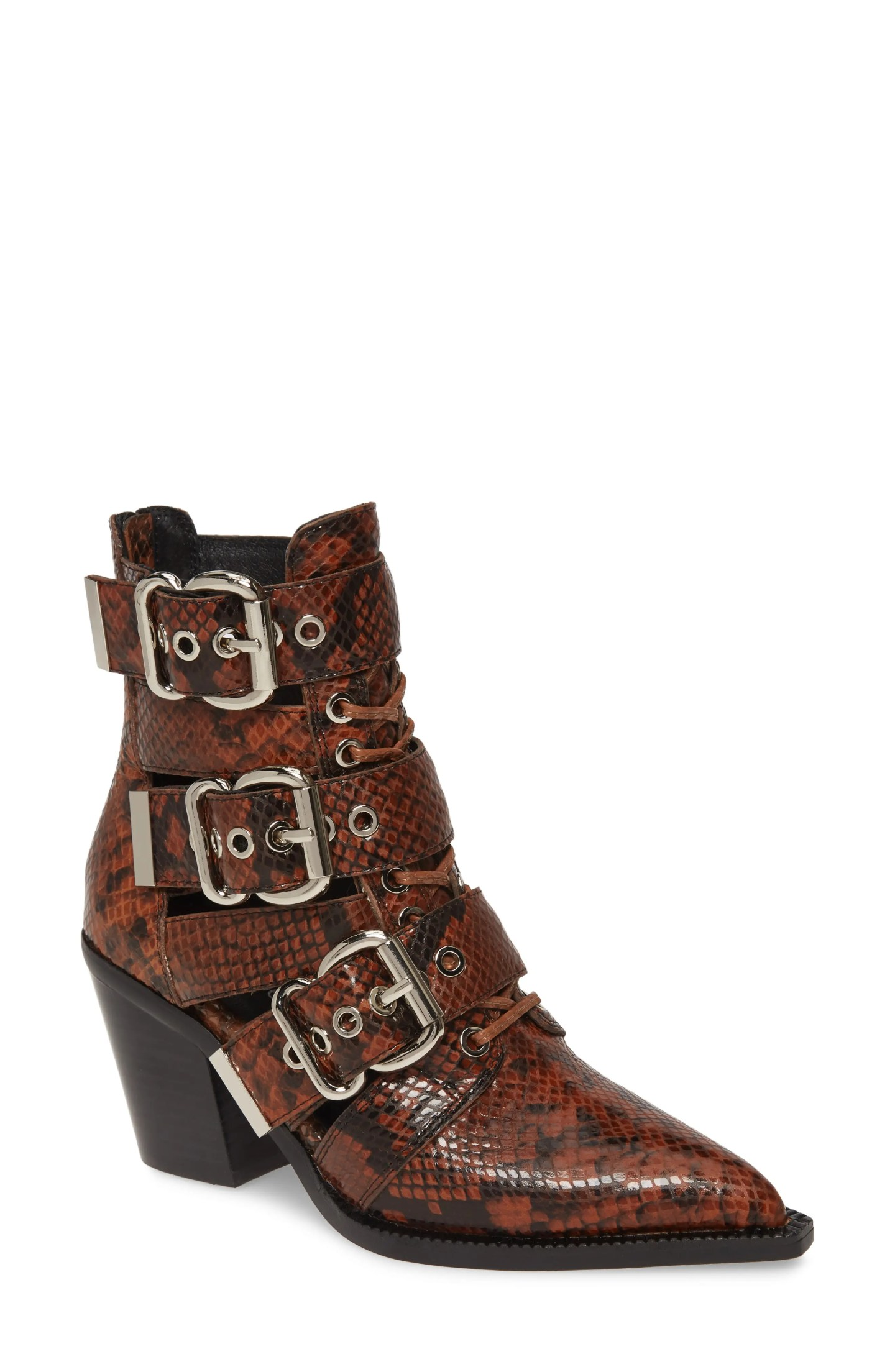 JEFFREY CAMPBELL Caceres Bootie, Main, color, BROWN BLACK SNAKE PRINT