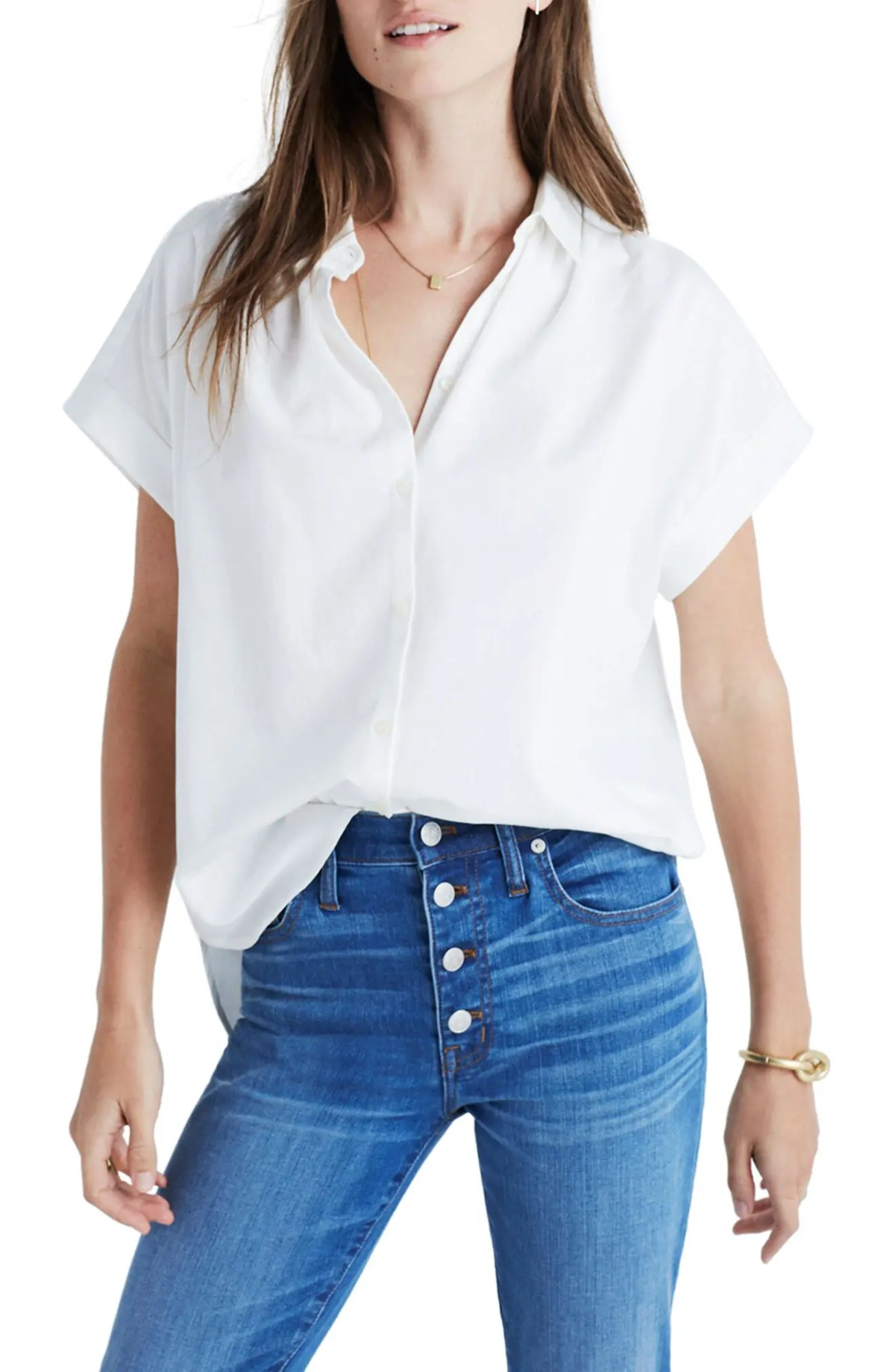 MADEWELL Central Blouse, Main, color, PURE WHITE