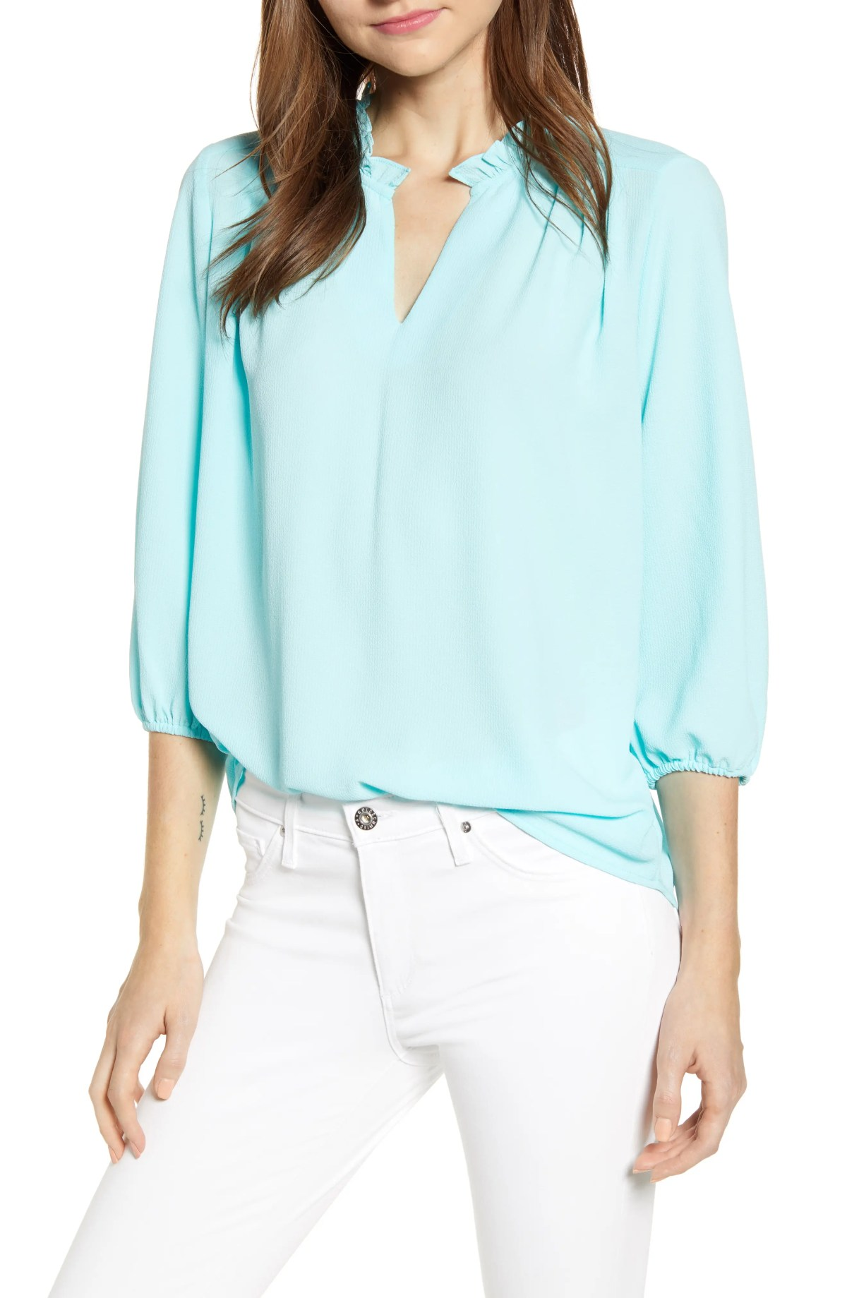 GIBSON x Living in Yellow Tulip Split Neck Top, Main, color, MINT ICE