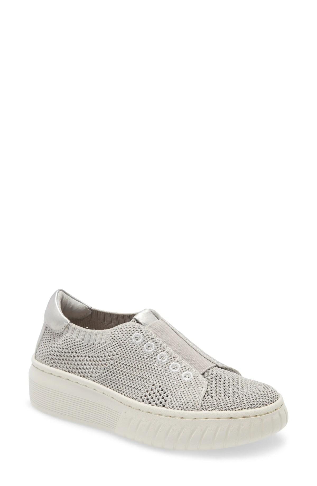 SÖFFT Payton Knit Platform Slip-On Sneaker, Main, color, LIGHT GREY KNIT FABRIC