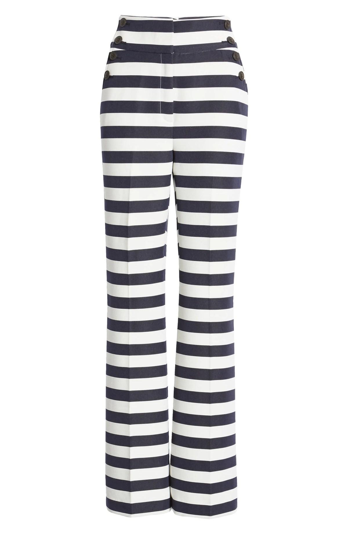 HALOGEN<SUP>®</SUP> x Atlantic-Pacific High Waist Flare Pants, Main, color, NAVY- WHITE STRIPE